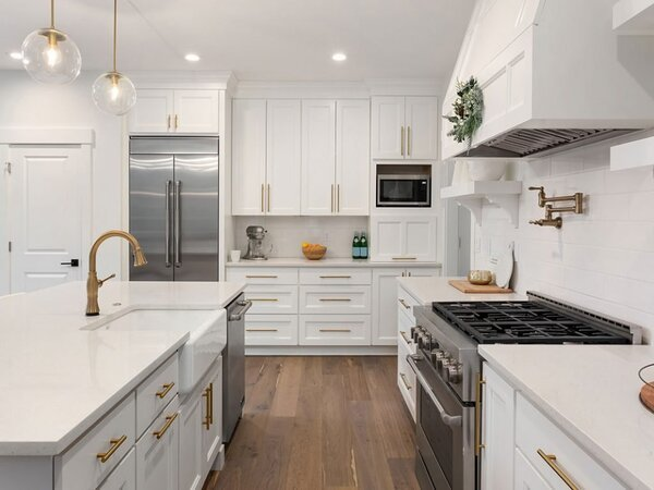 Newly remodeled kitchen with white cabinets