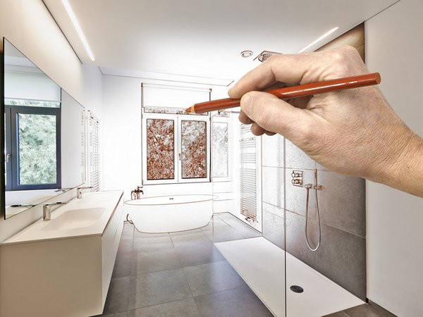 Drawing a remodeled master bathroom as it comes to life